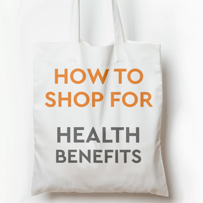 Book bag with lettering 'How to Shop for Health Benefits'