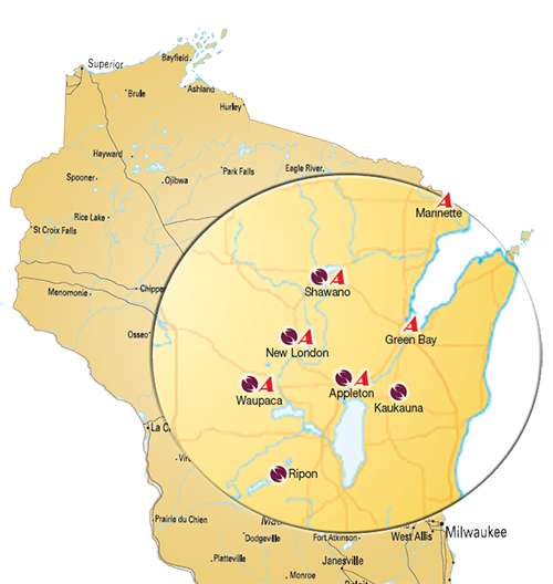 Mpa of OSI locations in Wisconsin