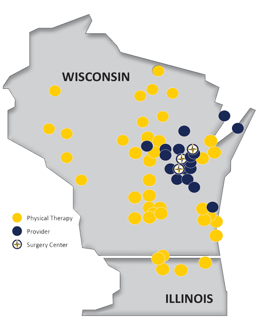 Map of NOVO locations in Wisconsin and Illinois